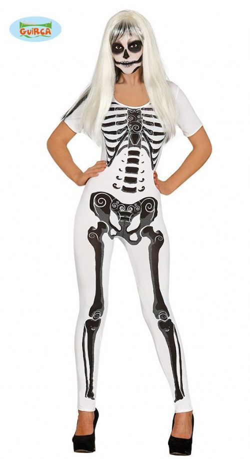 Adult White Skeleton Girl Costume for Sexy Halloween Fancy Dress Costume Jumpsuit